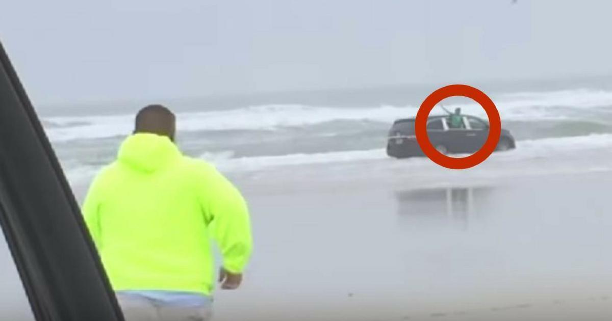 Elle voit une voiture foncer directement dans l'océan, quand elle s'approche, c'est le choc.