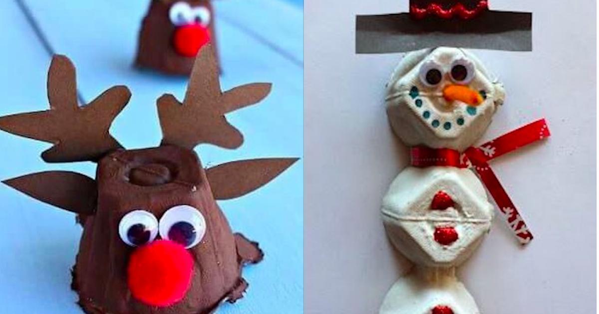 11 bricolages de Noël à réaliser avec des boites d'oeufs