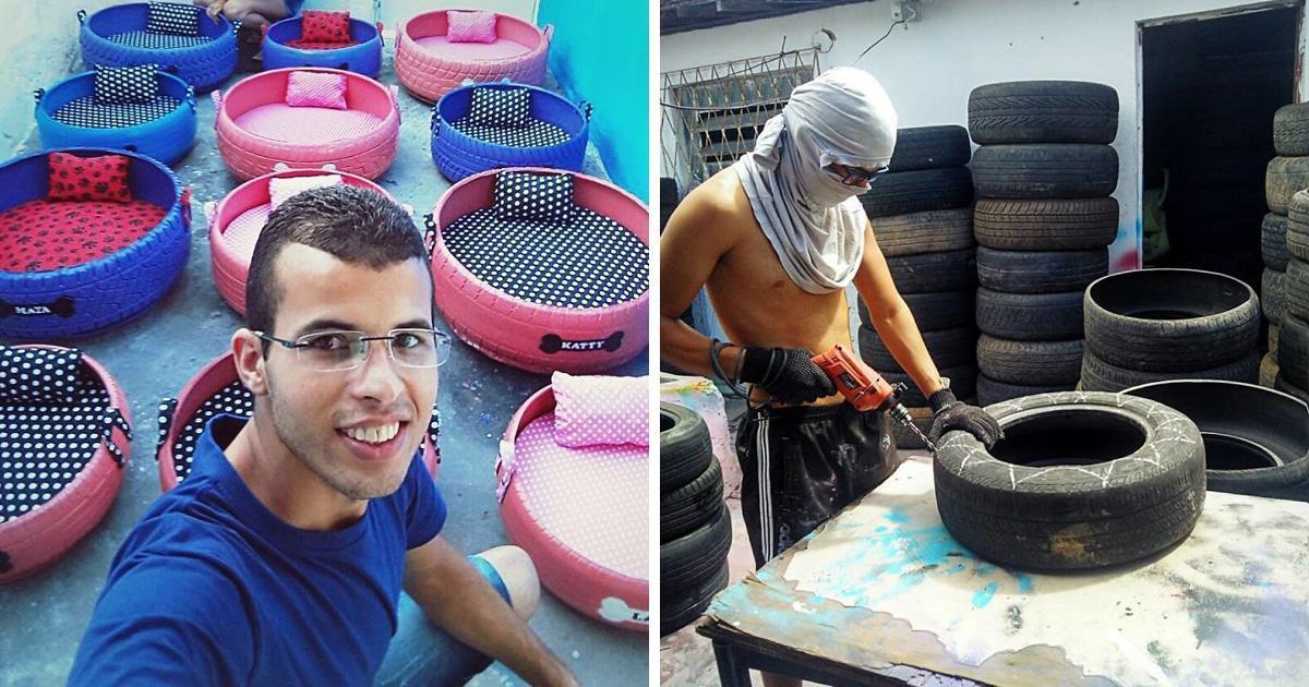 Il utilise des pneus usés jetés à  la rue pour leur donner une seconde vie sensationnelle