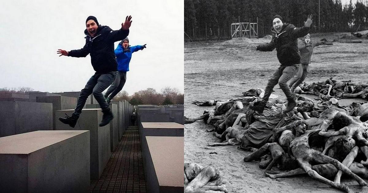 Cet artiste ressort le coté honteux des selfies au mémorial de l'holocauste avec ses montages