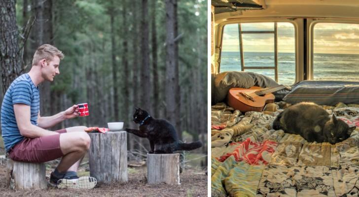 Il quitte son travail, vend tout et part à l'aventure avec son chat : les photos font rêver