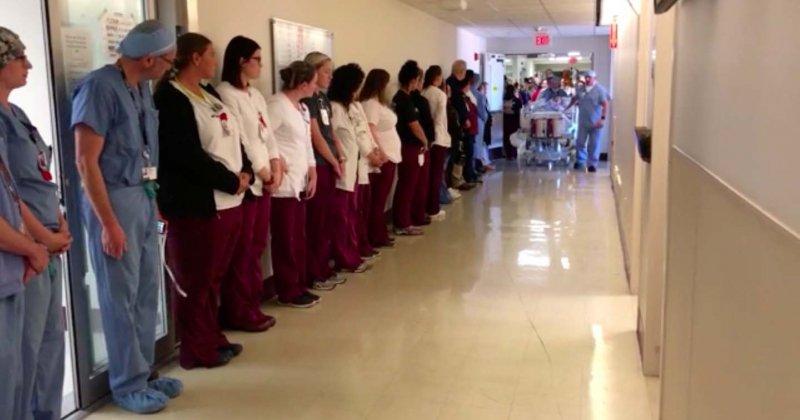 Plus de 100 employés d'un hôpital ont fait une haie d'honneur, en hommage à une infirmière décédée devenue donneuse d'organes