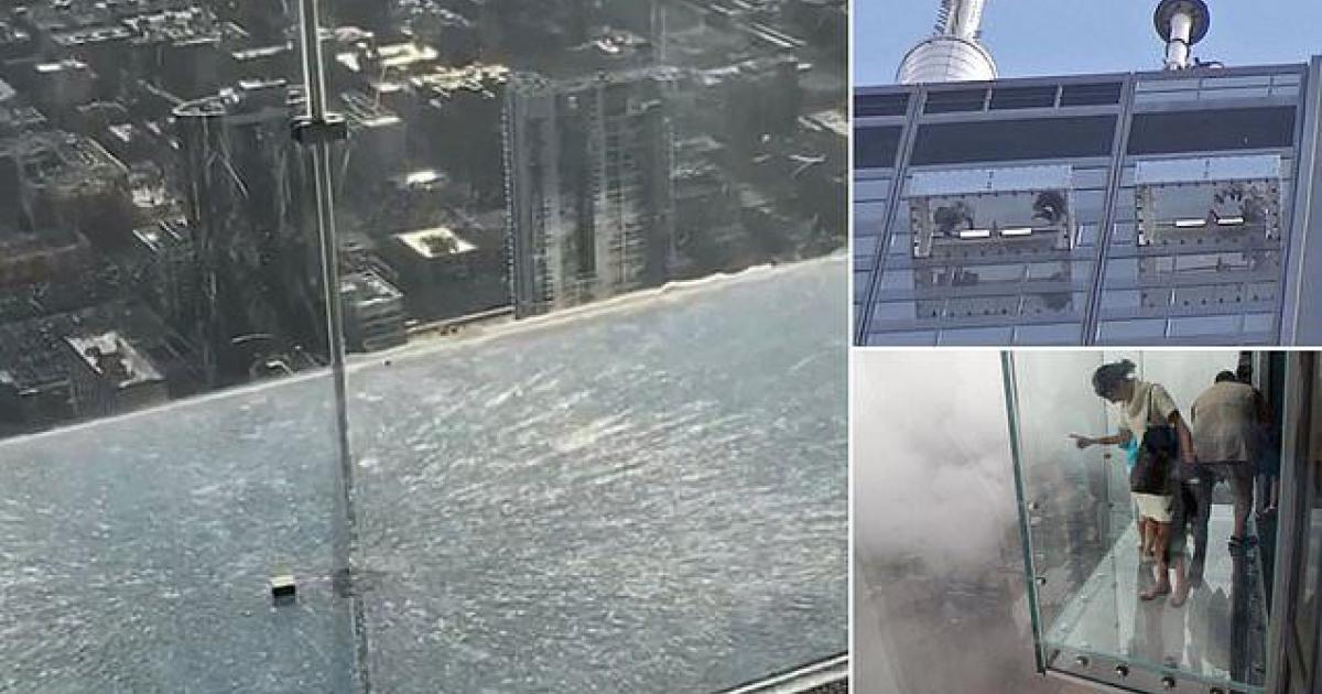 Un plancher de verre situé au 103e étage craque sous le regard terrifié des visiteurs.