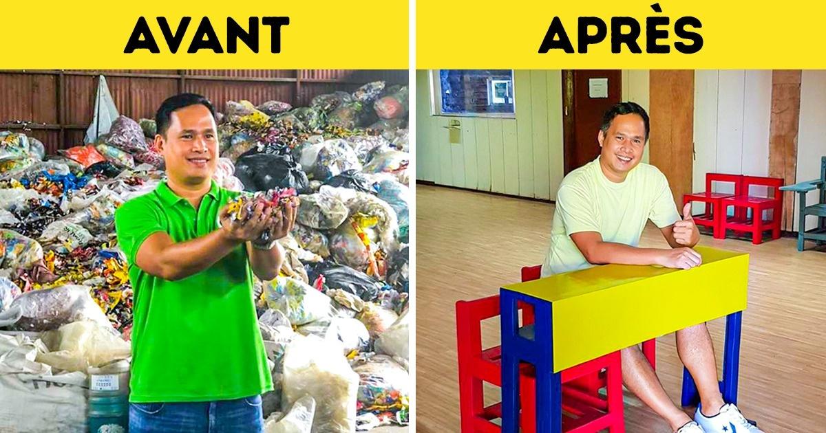 Un ingénieur philippin découvre une nouvelle façon de recycler le plastique et le transforme maintenant en mobilier scolaire coloré