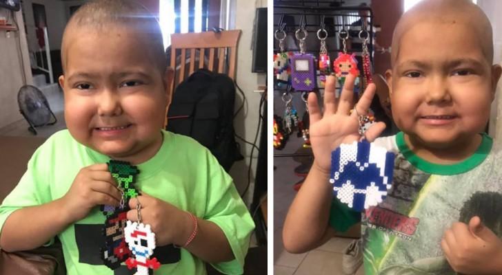 Cet enfant atteint de cancer fabrique des porte-clés colorés pour payer ses soins médicaux