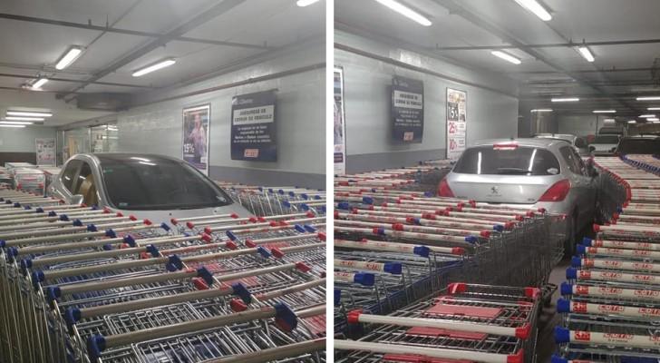 Il gare sa voiture dans la zone réservée du supermarché et les employés la bloquent avec une barrière de caddies