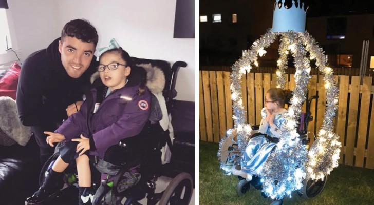 Un papa créatif a transformé le fauteuil roulant de sa fille en carrosse de princesse