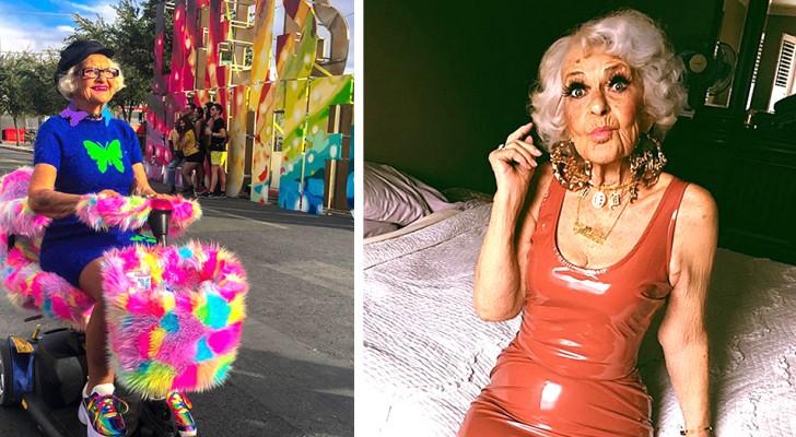 Cette 'jeune' mamie de 92 ans aux vêtements colorés et aux poses d'adolescente est une véritable célébrité du web