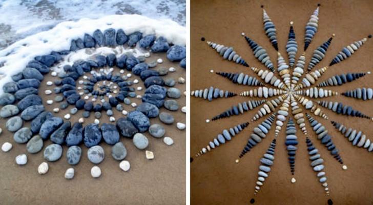 Il crée des œuvres d'art géométriques fascinantes sur les plages en utilisant des pierres colorées