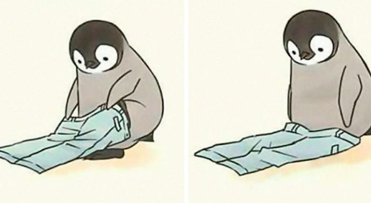 Cet artiste a dessiné des scènes de la vie quotidienne mettant en scène un pingouin tendre mais maladroit