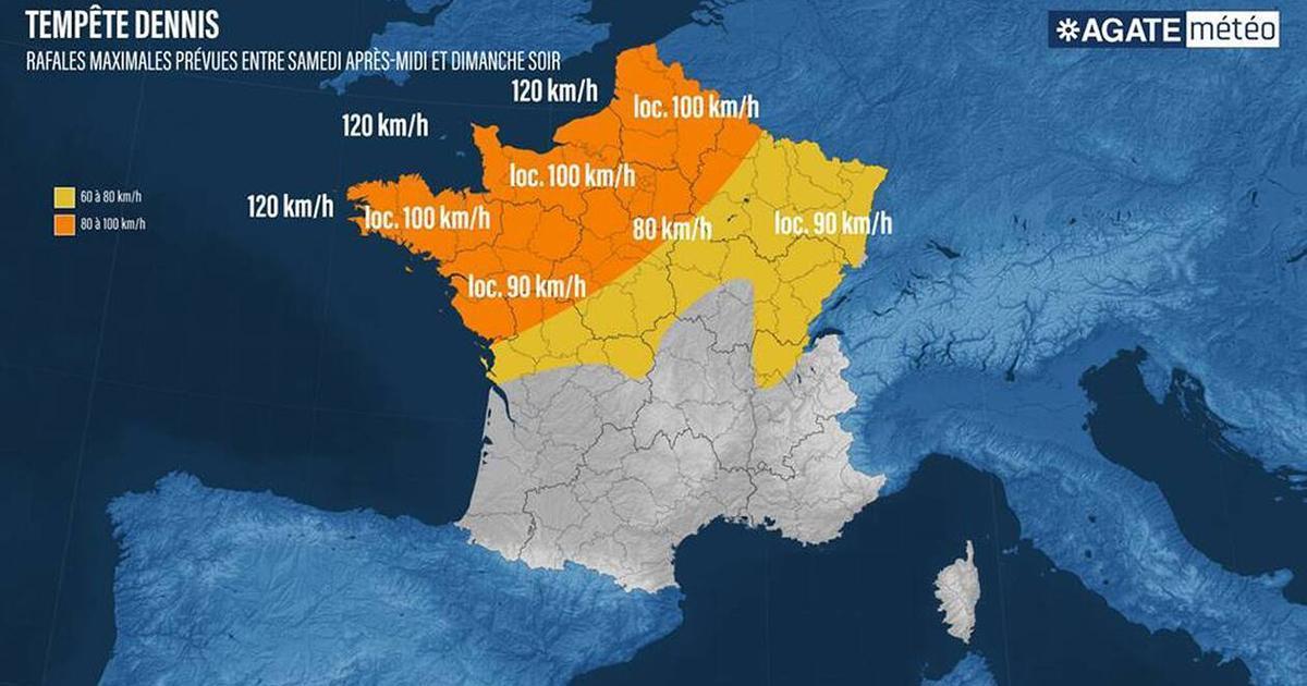 La tempête Dennis arrive sur la moitié nord de la France