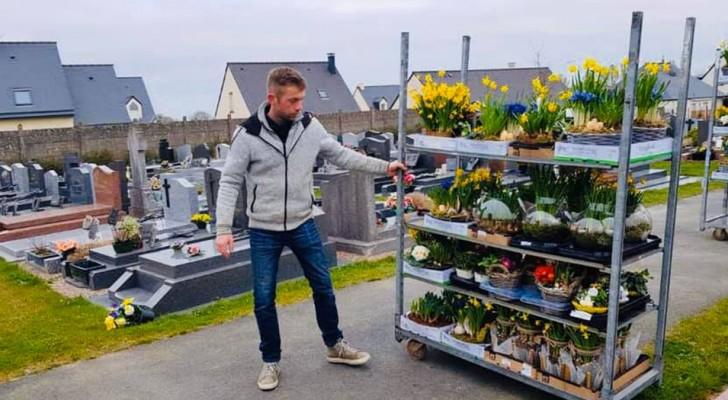 Ce fleuriste français a emporté toutes ses fleurs invendues au cimetière de sa ville pour orner les tombes des défunts