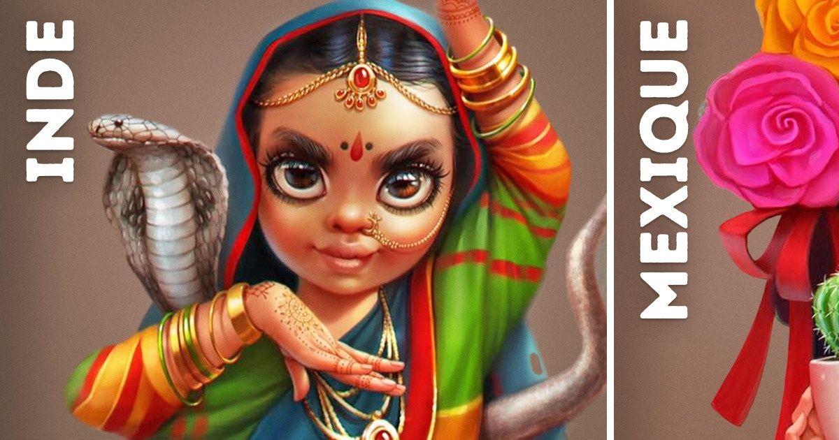 Une Illustratrice a dessiné 10 petites filles représentant différents pays et elles sont adorables