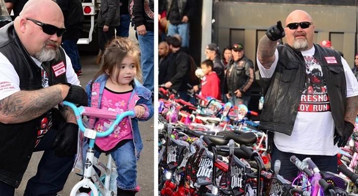 Une bande de motards au cœur d'or donne plus de 200 vélos à des enfants dans le besoin