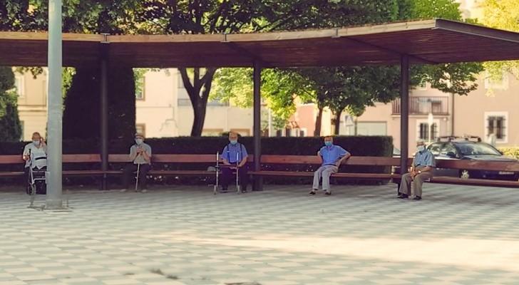 6 seniors se rencontrent chaque jour dans le même parc en respectant les distances de sécurité : la notion du respect en une photo