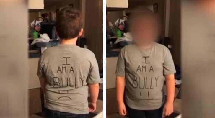 Elle découvre qu'il maltraite ses camarades de classe : sa mère l'envoie à l'école avec un T-shirt qui dit 'je suis un harceleur'