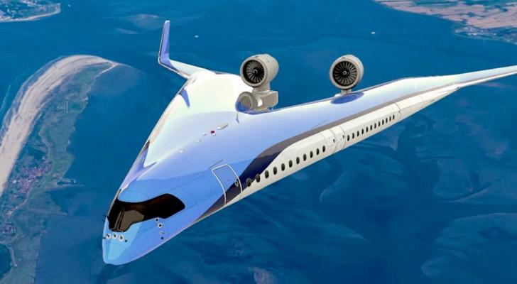Ce modèle d'avion a une forme en V et consomme 20 % de carburant en moins que les autres avions