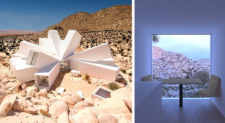 Un homme conçoit une immense maison avec des containers au milieu du désert : sa forme ressemble à une fleur