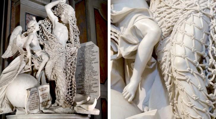 Cette sculpture du XVIIIe siècle est tellement détaillée que le filet de marbre semble presque réel