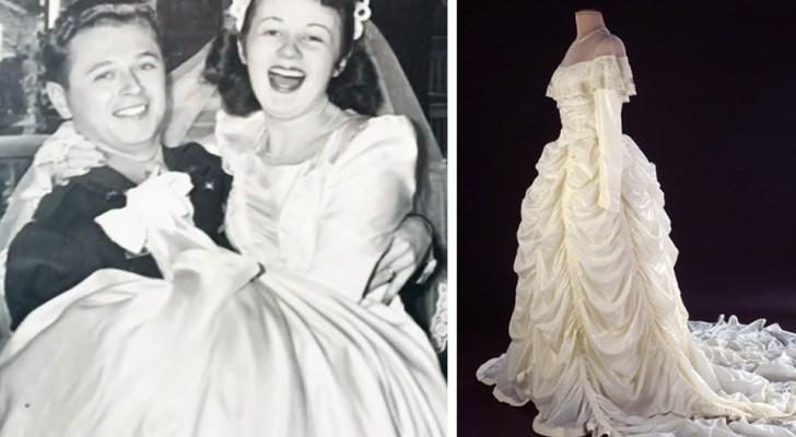 Elle réalise sa robe de mariée avec le tissu du parachute que son mari a utilisé pendant la guerre pour se sauver