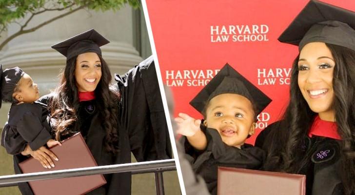 Une maman célibataire obtient son diplôme à Harvard et se présente à la cérémonie avec sa fille
