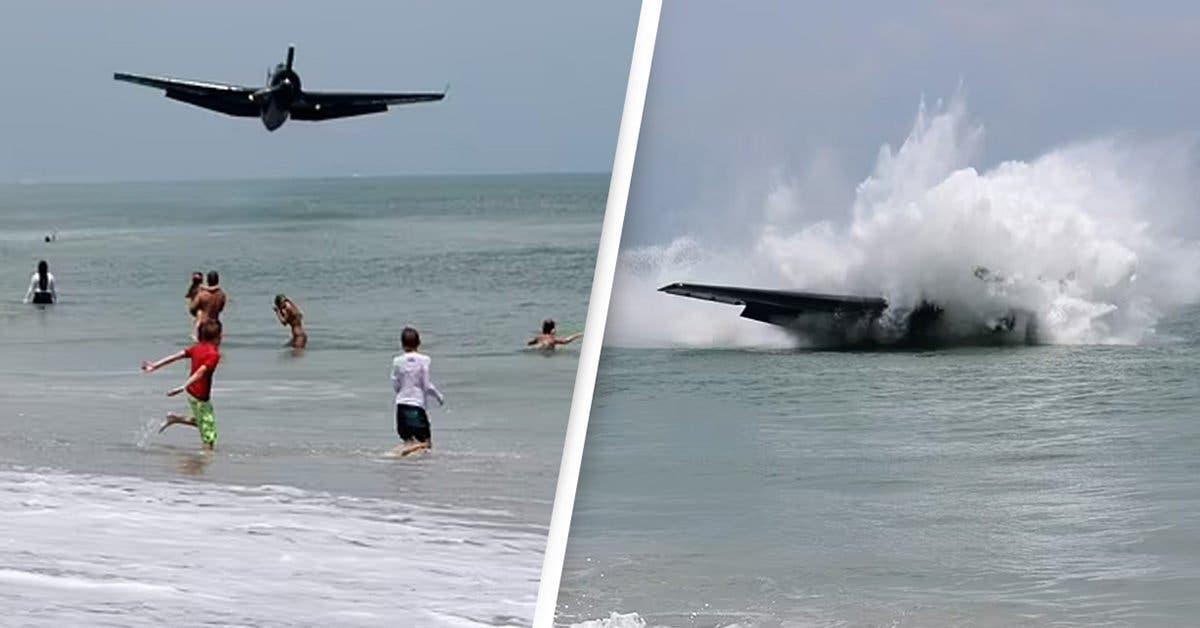 Un avion s'écrase en mer derrière une femme prenant des photos de maternité dans des images choquantes