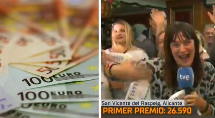 Elle annonce en direct à la télévision qu'elle a gagné à la loterie et veut quitter son emploi, mais découvre ensuite que le jackpot est de 5 000 €