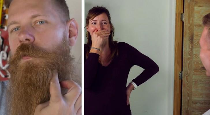 Il se rase la barbe après 8 ans et laisse tout le monde bouche bée : même sa femme a du mal à le reconnaître